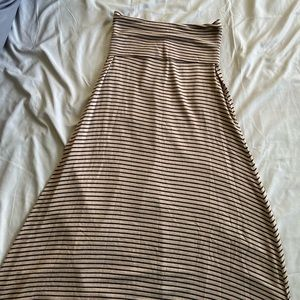 Love Culture Striped Black&Dark Cream Long Skirt
